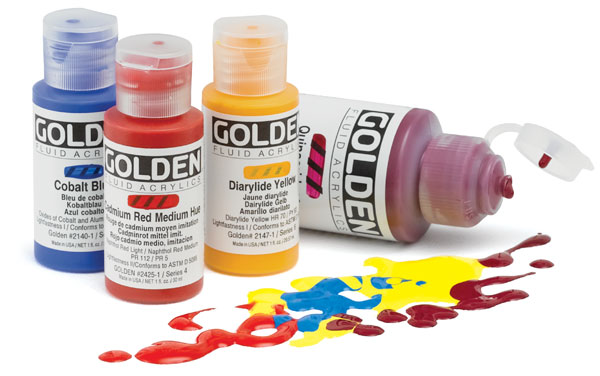 Golden Fluid Acrylics   These fluid acrylics generally are highly saturated and transparent. They are vivid and luscious as glazes over other colors, especially right out of the tube. A little goes a long way! They also have a natural sheen that accentuates their vibrancy. You can pour them right on your paintings or mix on your palette with other colors. Some of my favorite colors are Green Gold, Van Dyke Brown, Transparent Iron Oxide and Pthalo Turquoise.