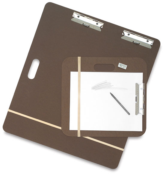 "Blick Sketch Pad Boards   This board is great for taping/stretching your watercolor paper down so it doesn't buckle, as well as sketching out in the field. The 24"" x 26"" is great for medium or small sized watercolor paper. It's easy to carry and has clips and a rubber band for holding paper when loose. And Blick, as usual, is great value."
