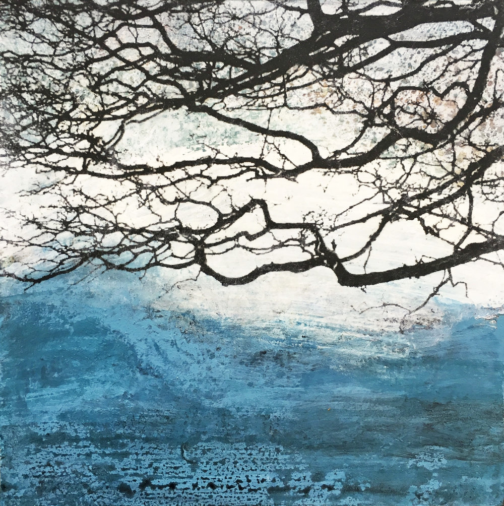 "30 Days of Aqua #11 Acrylic, toner on panel 2018 6"" x 6"" x .75"" Sold ©Amy Guion Clay"