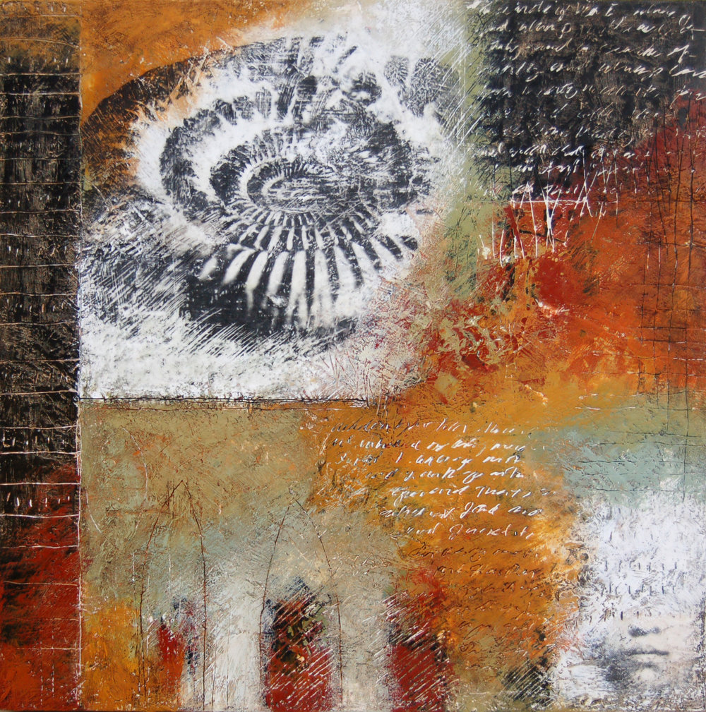 """Finally Woke Up"" 30"" x 30"" x 3"" Encaustic, toner, oil on panel 2005 ©Amy Guion Clay SOLD"