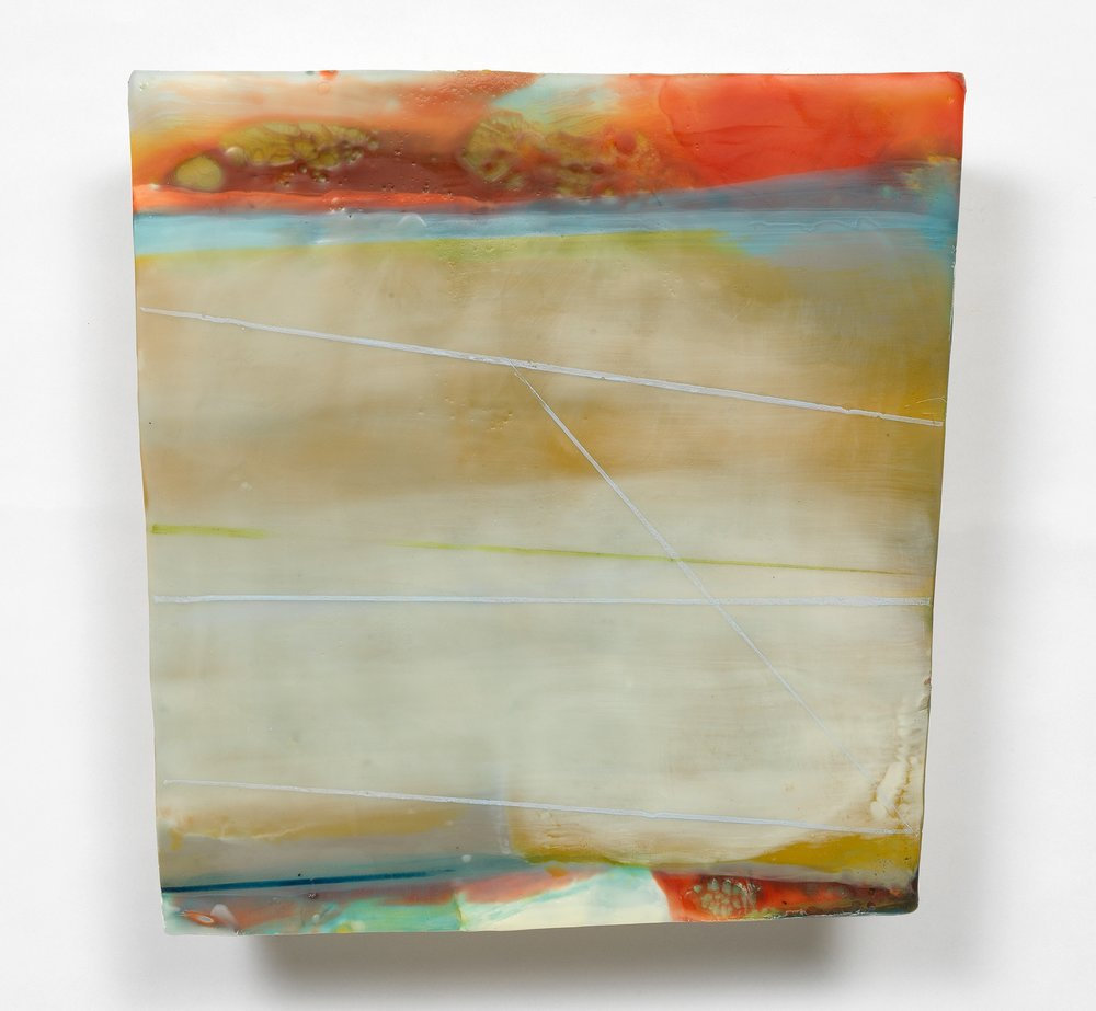 """""""Antithesis"""" 12"""" x 12"""", encaustic and oil on shaped panel"""
