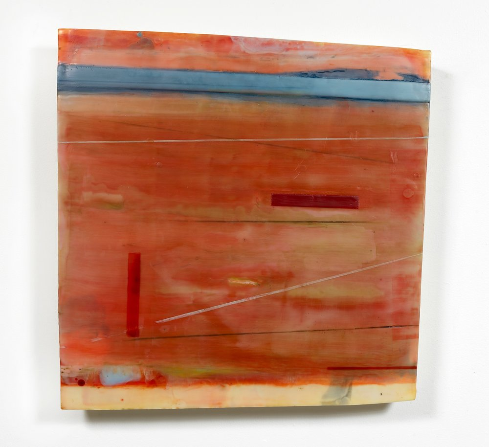 """""""Harmonic Wave"""" 26"""" x 25"""" encaustic and oil on shaped panel"""