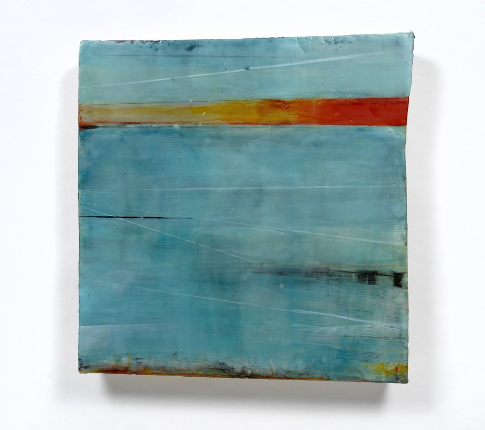"""""""Aquatic Brume"""" 27"""" x 26"""" encaustic and oil on shaped panel"""