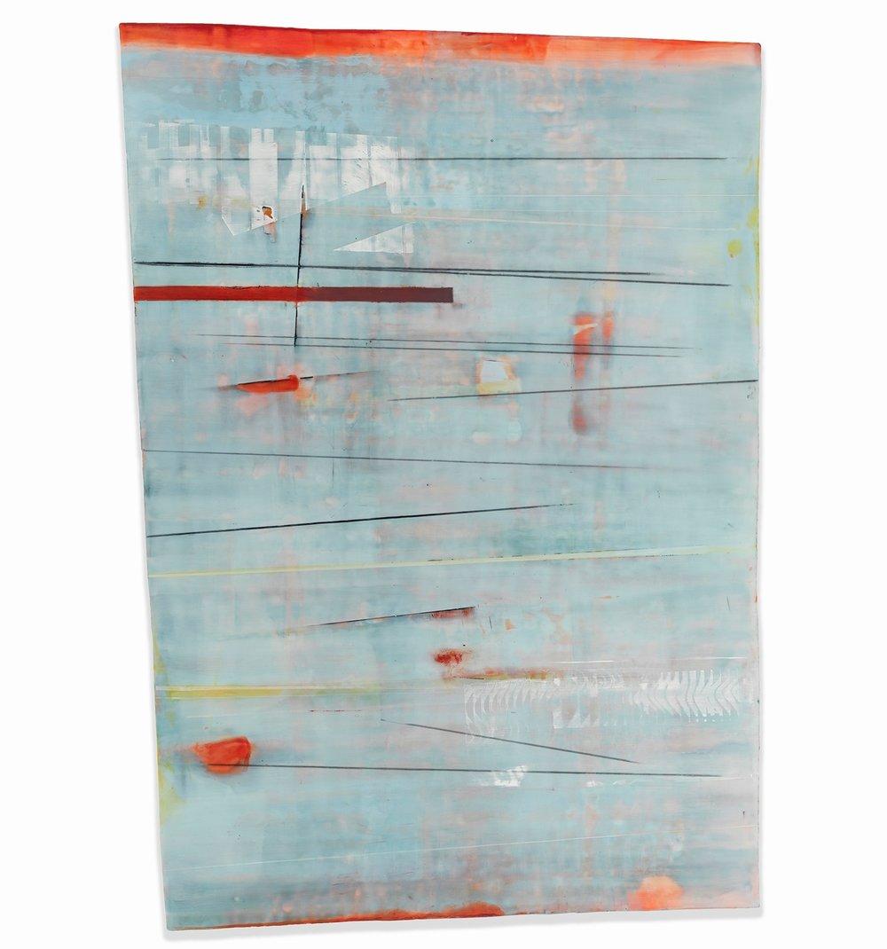 """Aqua"" 59"" x 45"" encaustic and oil on shaped panel"