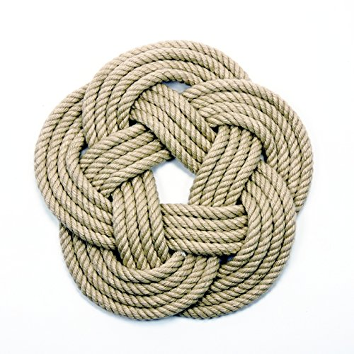 Tan Cotton Nautical Sailor Knot Coasters Set of 4   Use with mugs, glasses, and cold bottles of beer. The cotton will absorb any moisture saving your tabletop. These coasters come in a set of four and measure 4 inches across. They are tied with the same knot as our famous sailor knot bracelets, just turned flat. To ensure long lasting color fastness, avoid harsh detergents.  $22.99