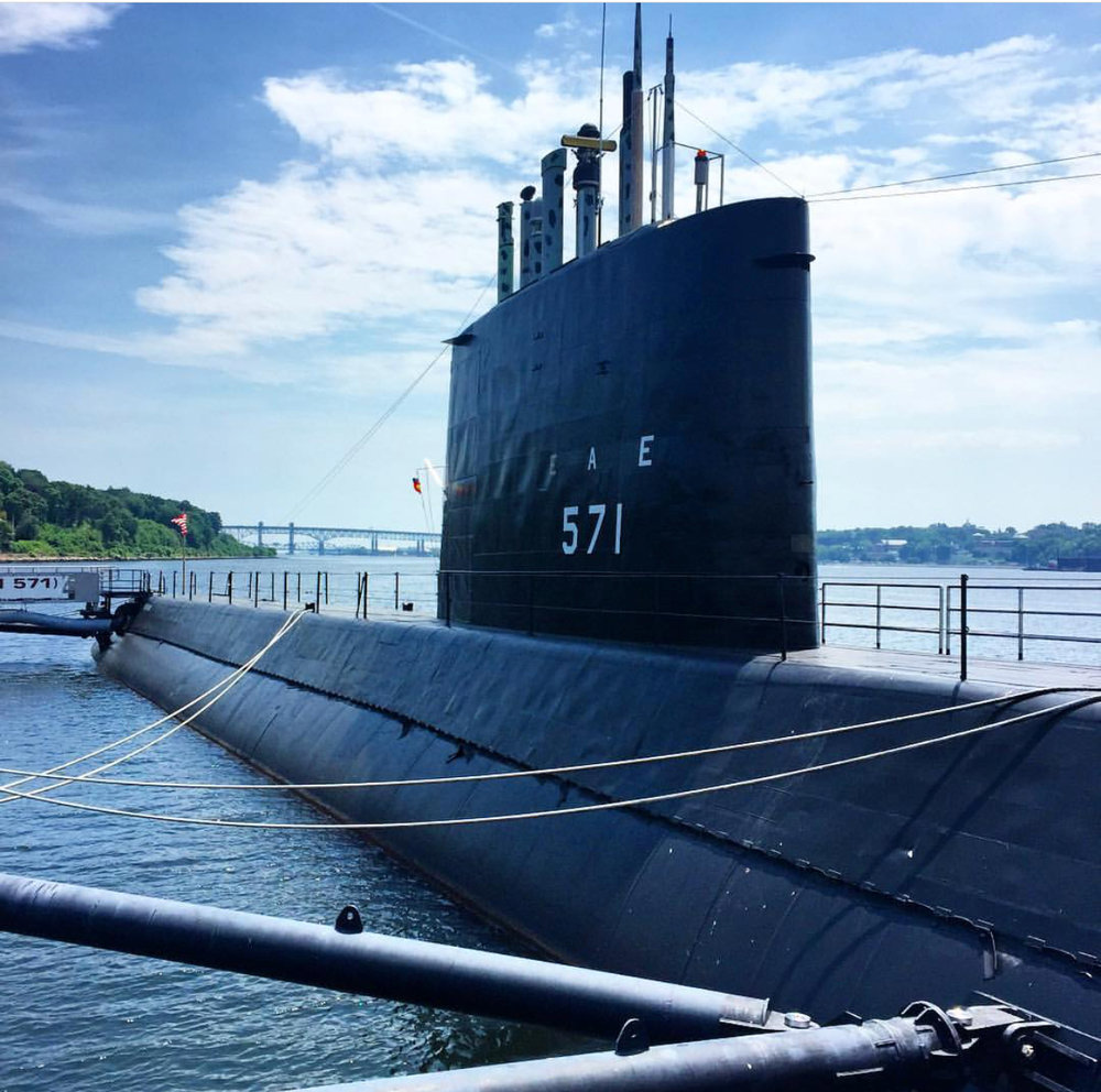 rainy day Connecticut shoreline submarine