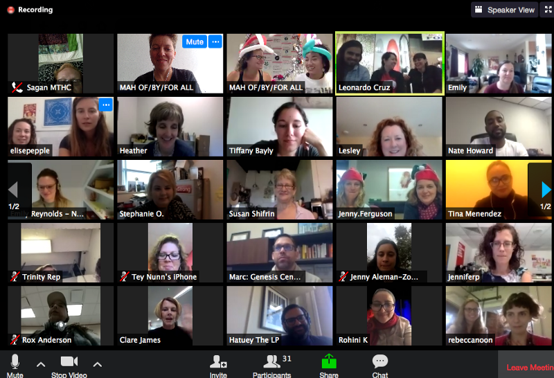 """We use Zoom for weekly group calls among the entire cohort. It works best when we encourage everyone to use """"Gallery View"""" so we can see and connect throughout the call. As staff, we keep track of who speaks on each call and facilitate actively to bring everyone into the conversation."""