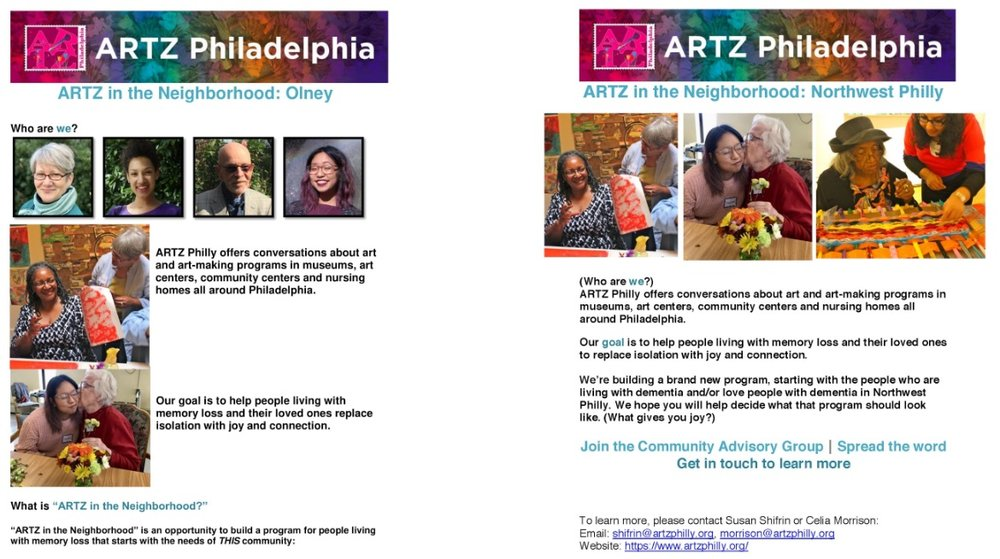 Two versions of the Northwest Philly flyer before (left) and after (right) Toya's input.    (Flyers: ARTZ Philadelphia)