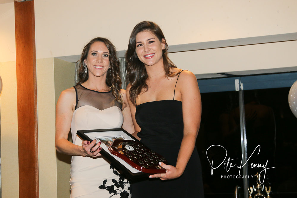Audrey Legrand (L) receives the Women's 1st Grade Players Player for the second year running