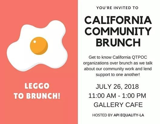 Join API Equality-LA, API Queer Sacramento Coalition, and other API LGBTQ groups and individuals from California this Thursday before the NQAPIA National Conference in San Francisco! We will be meeting up at Gallery Cafe near the conference hotel to mingle and talk about the work we've been doing for our QTAPI communities and find ways to support one another! This is a great opportunity to make friends and build connections before the conference. See you there!