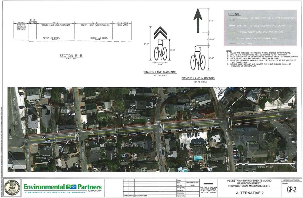 The approved plan for a bicycle climbing lane on Bradford Street eastbound from Central Street to Carver Street in Provincetown.
