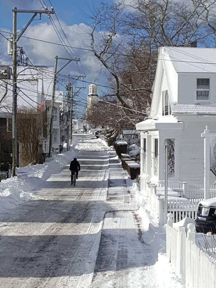 A sunny winter bike ride in Provincetown.