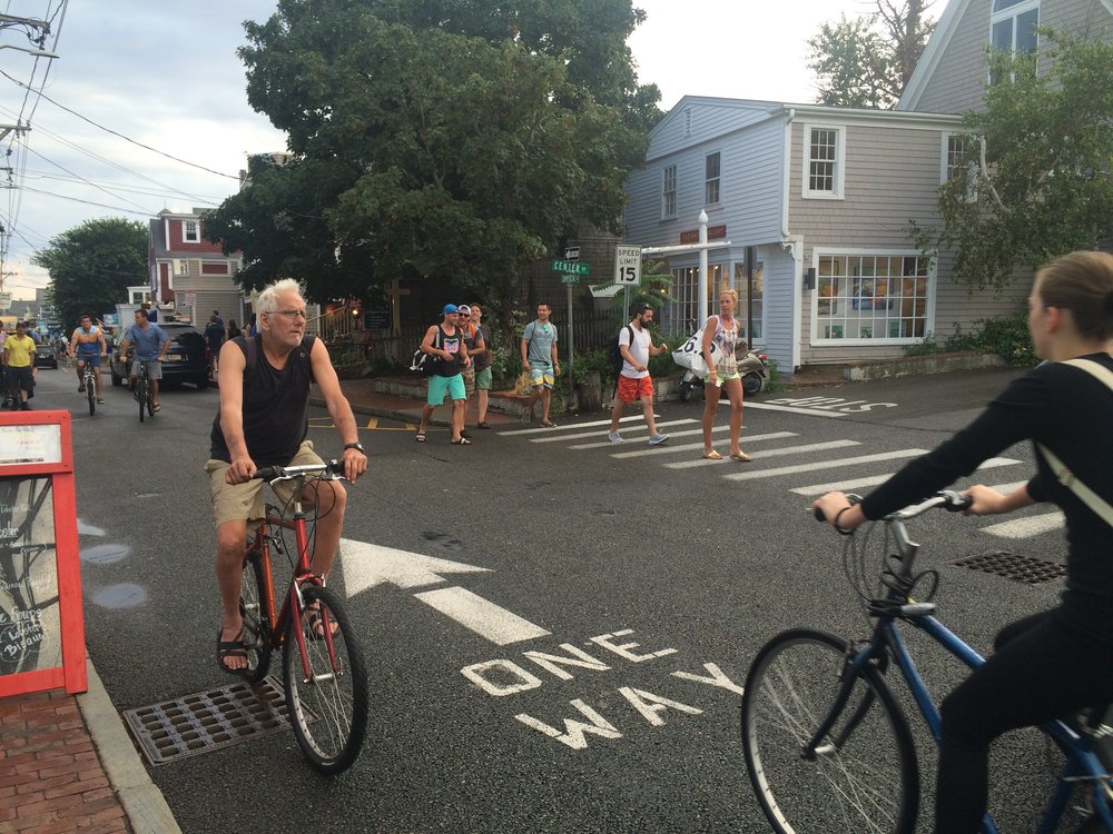 It's one-way for cars but two-way for bicycles along Commercial Street in Provincetown.