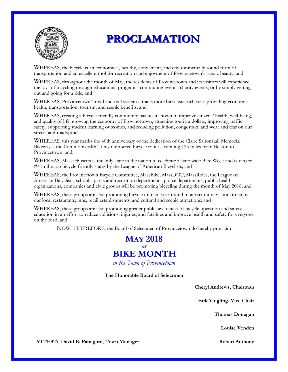 2018 Provincetown Bike Month Proclamation