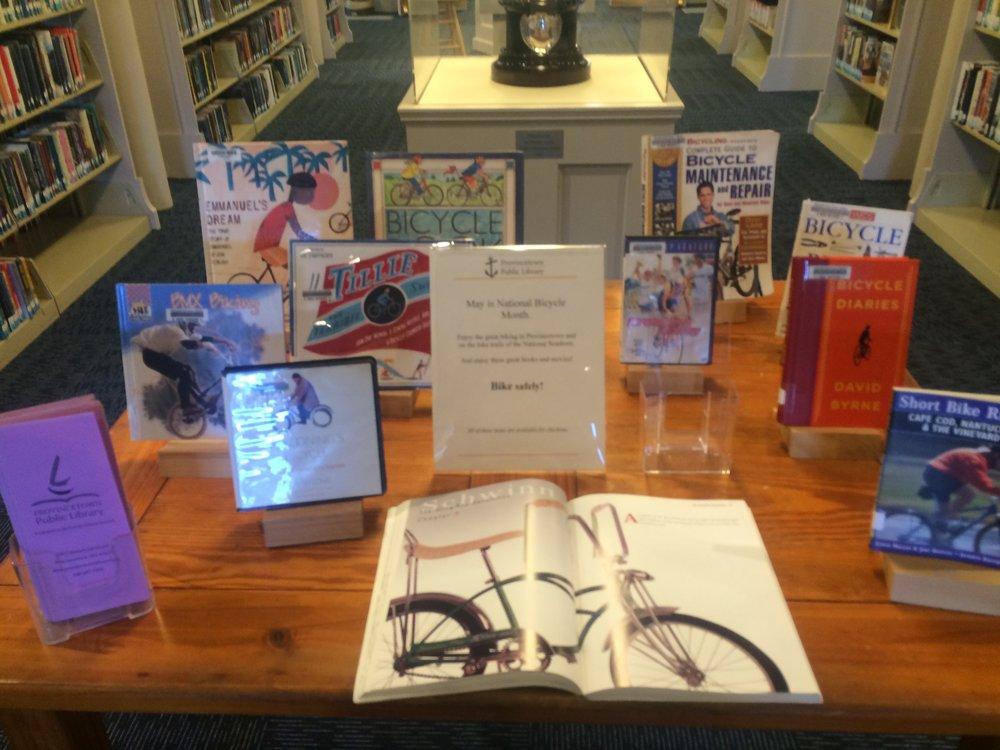 Provincetown library Bike Month book display.jpg