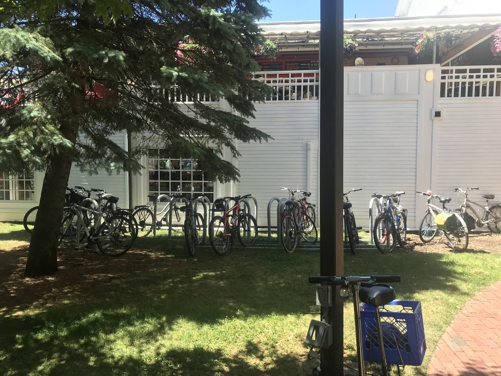 After - Five 10-bike Saris corrals plus one 6-bike corral in two rows