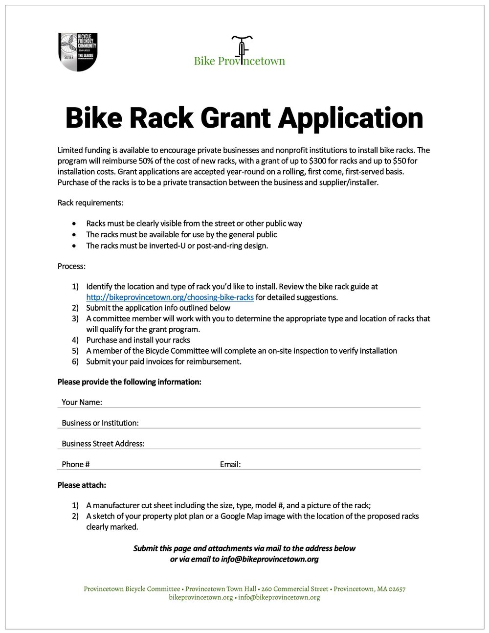 Bike Rack Grant Application (PDF) »