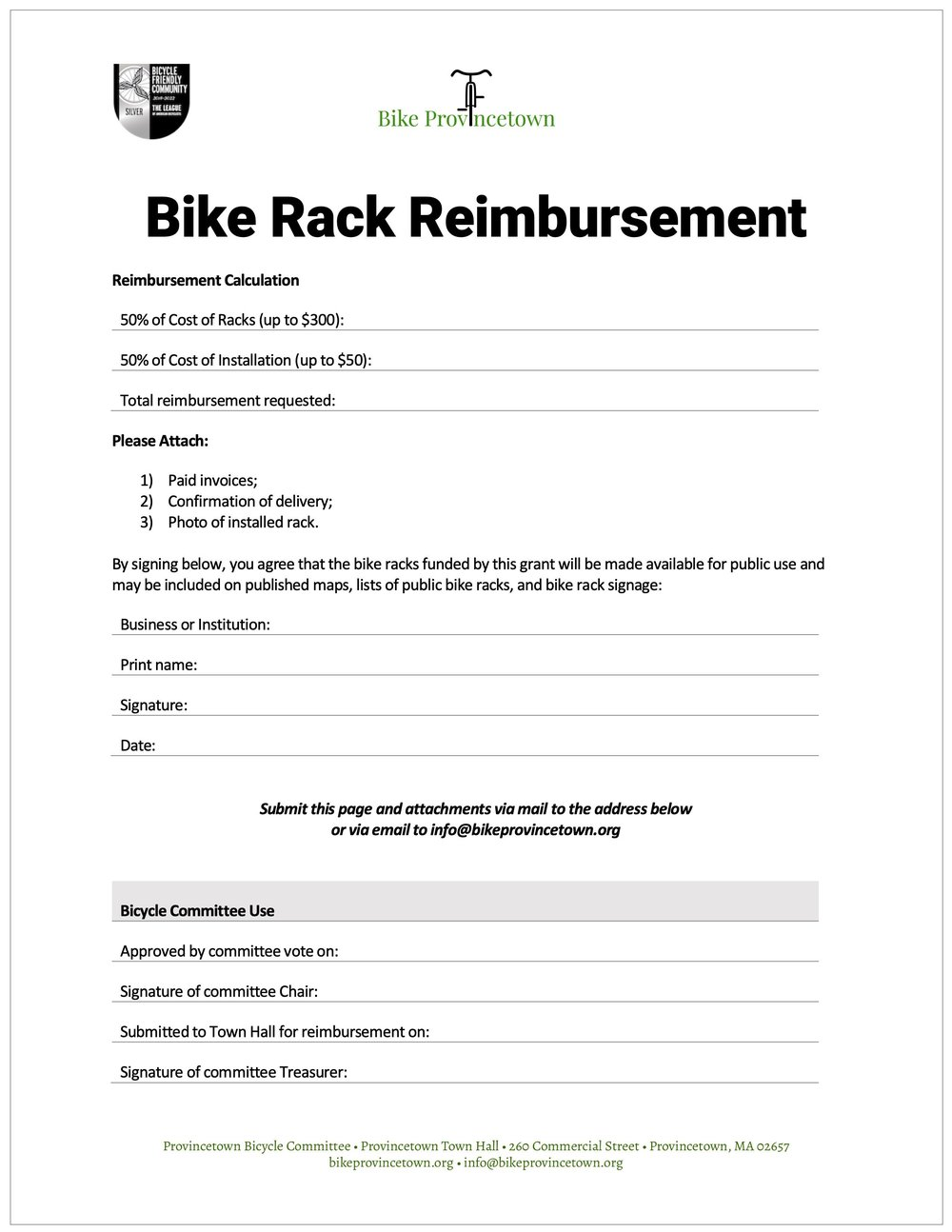 Bike Rack Reimbursement Form (PDF) »