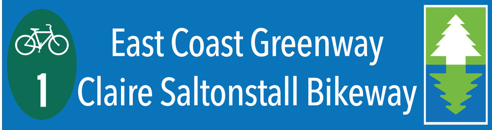 Mockup of a sign for the East Coast Greenway/Claire Saltonstall Bike Route 1