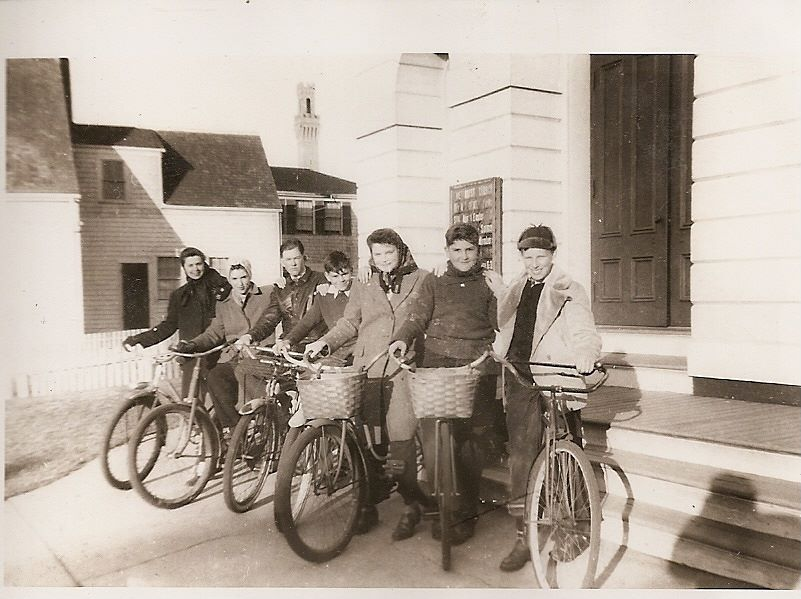 Sunrise service Easter 1945 with bikes