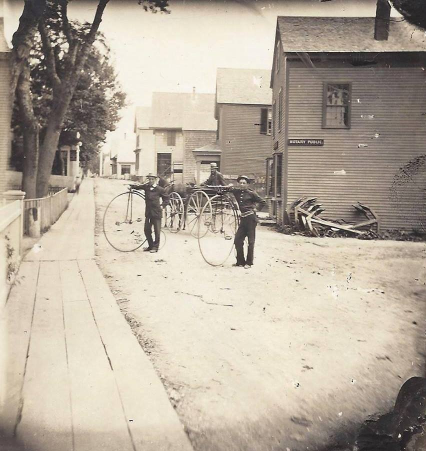 Penny farthing bicycles on Commercial St in Provincetown circa 1890 (Salvador Vasques)