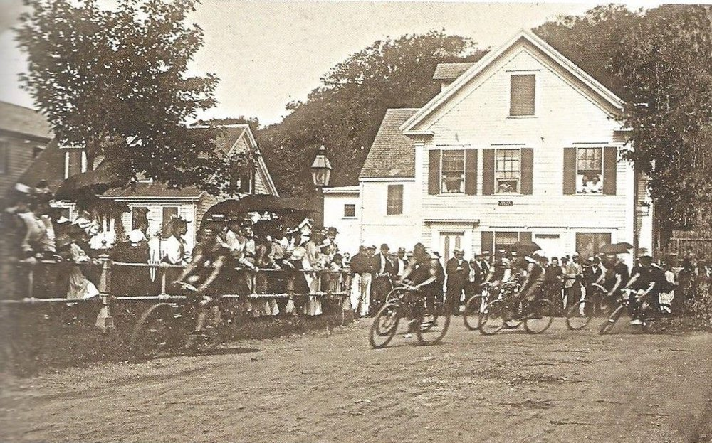 Bicycle race near Bradford St & Ryder St circa 1900 - My Grandfather's Provincetown - Lisa King
