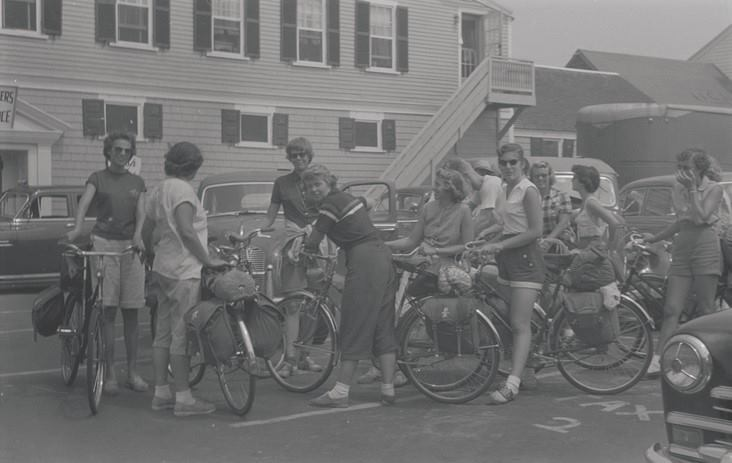 Women with their bicycles in Lopes Square circa 1970 - My Grandfather's Provincetown - Lisa King