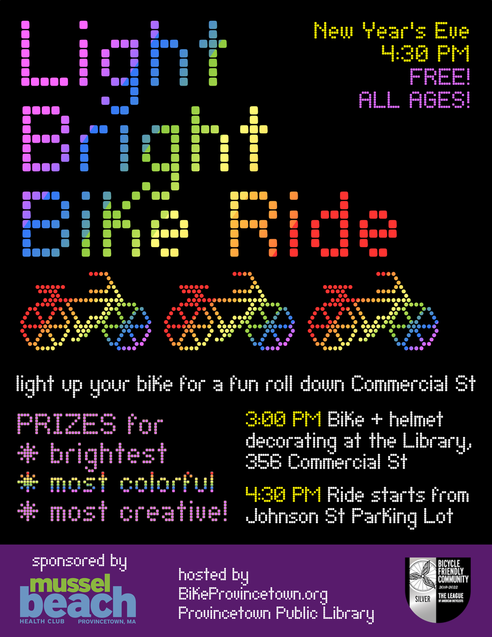 Provincetown's annual Light Bright Bike Ride takes place at sunset on New Year's Eve