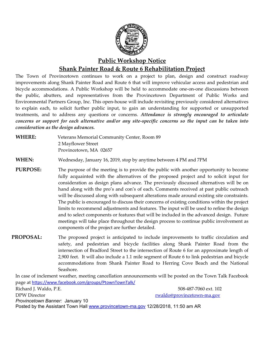 Shank Painter Road & Route 6 Rehabilitation Project Workshop notice (Provincetown)