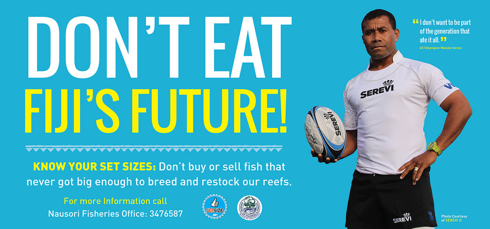 cChange created this billboard for the Ministry of Fisheres to place at the Nausori fish markets. Photo courtesy of SEREVI.