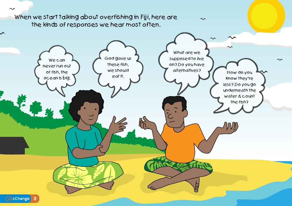 A page from a Set Size campaign booklet with common responses from Fiji communities when you raise the issue of overfishing and the need for management.