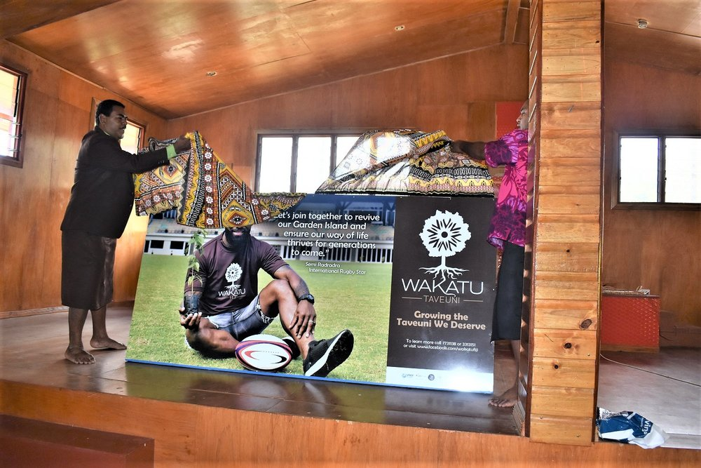 Unveiling of the Wakatu Taveuni billboard featuring professional rugby player Semi Radradra_Wakatu Taveuni's first champion.JPG
