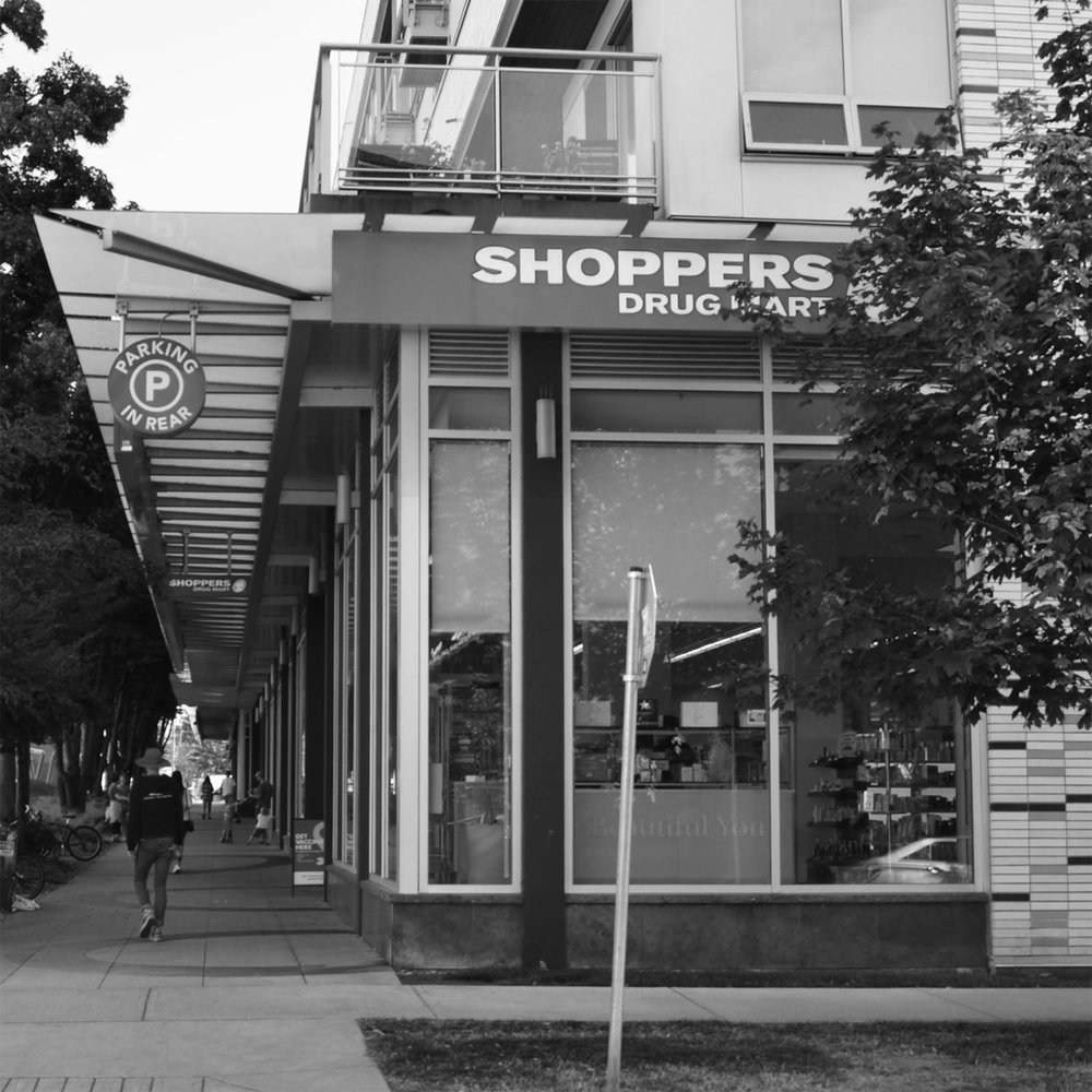 SHOPPERS DRUG MART   Just half a block from my work space, this pharmacy includes a small grocery section with fresh produce and more. In front is a pocket park with a grassy hill, perfect for a post-lesson popsicle.   map
