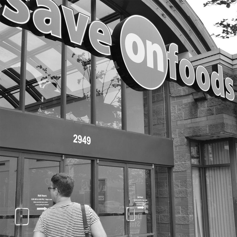 SAVE-ON-FOODS   Just a 5- to 10-minute walk north of my work space, this full-size grocery store has all you need and offers pick-up and delivery services as well.   map