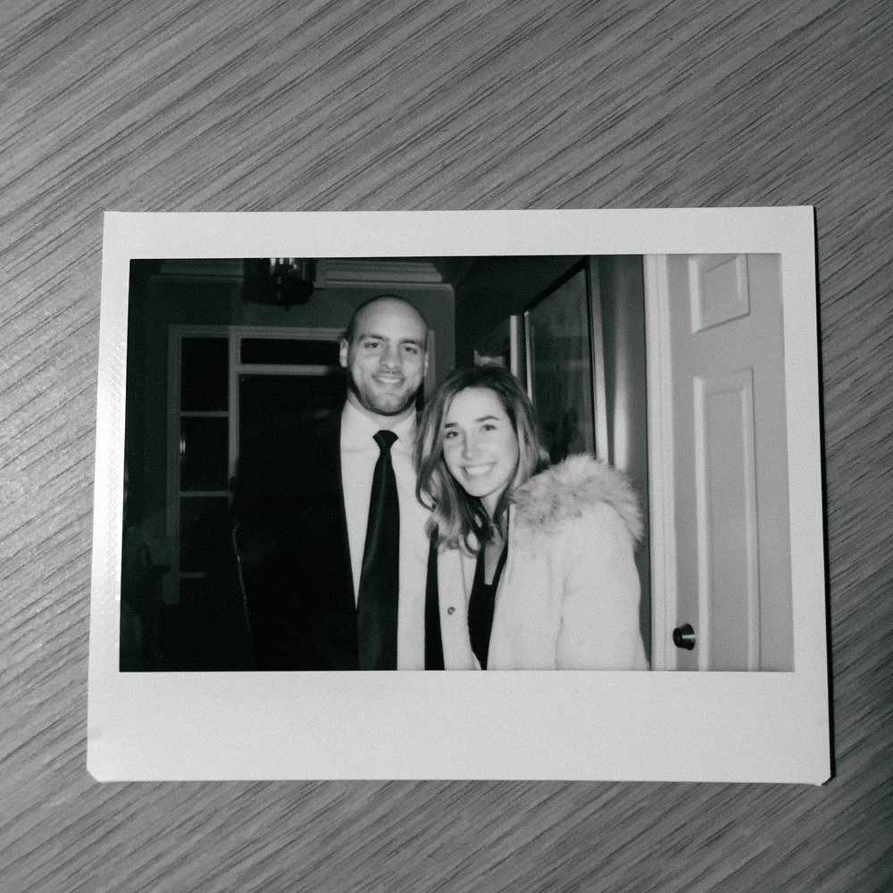 0ur first picture together was a polaroid taken at a friend's wedding.