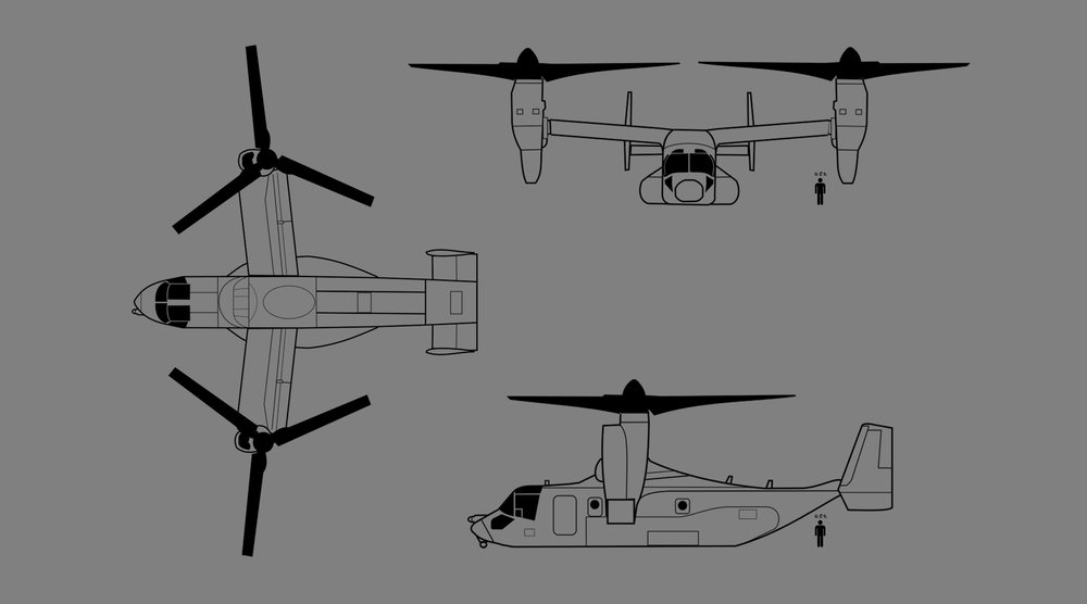 real orthographic osprey blueprint used as reference