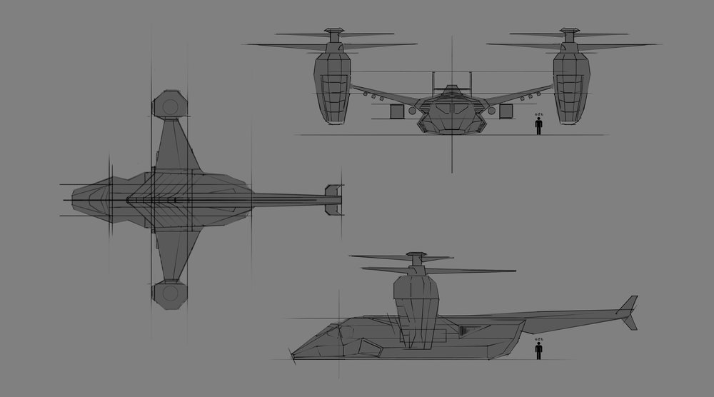 orthographic sketches on top of real osprey blueprints used as reference (next image)