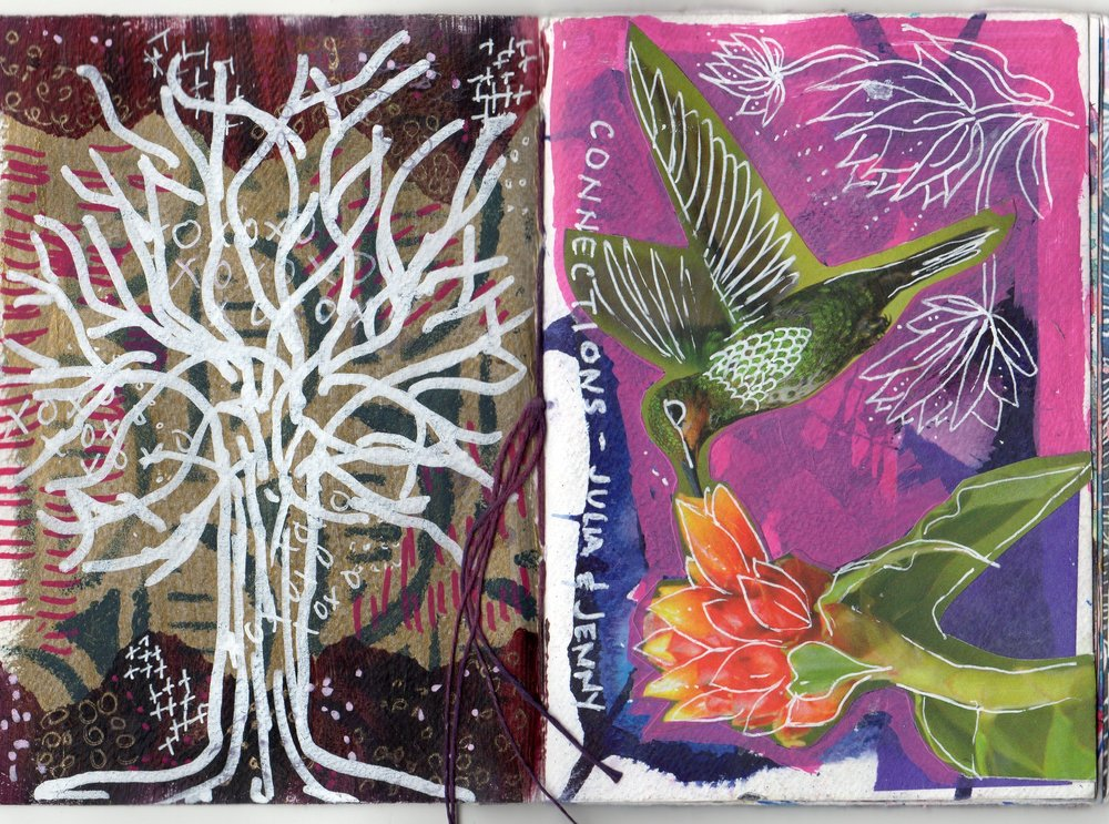 Front Cover (Bird - Jenny started and I finished) and Back Cover (Tree-I started and Jenny finished)