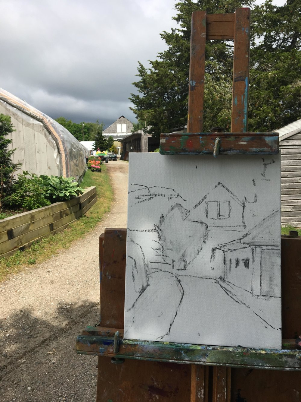 Step 1, sketch in scene with vine charcoal