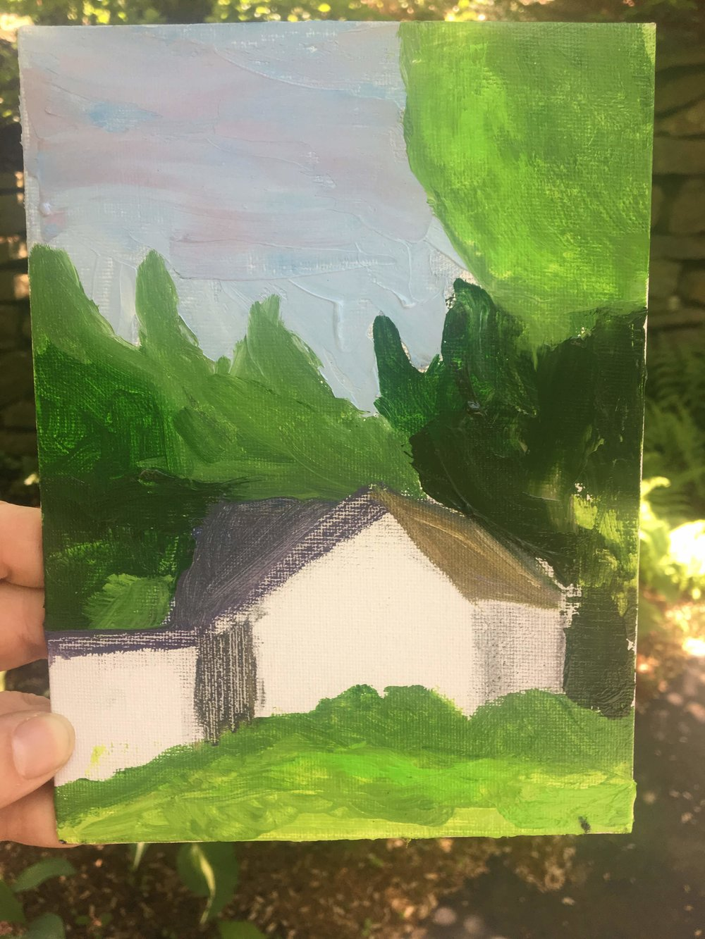 painting from my second class, house in center unfinished