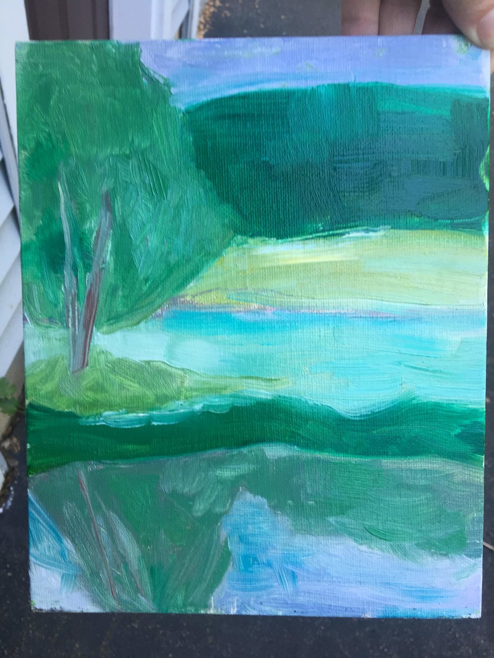 painting from third class ... no man-made focal point, and I found the reflection/water in the foreground very challenging!