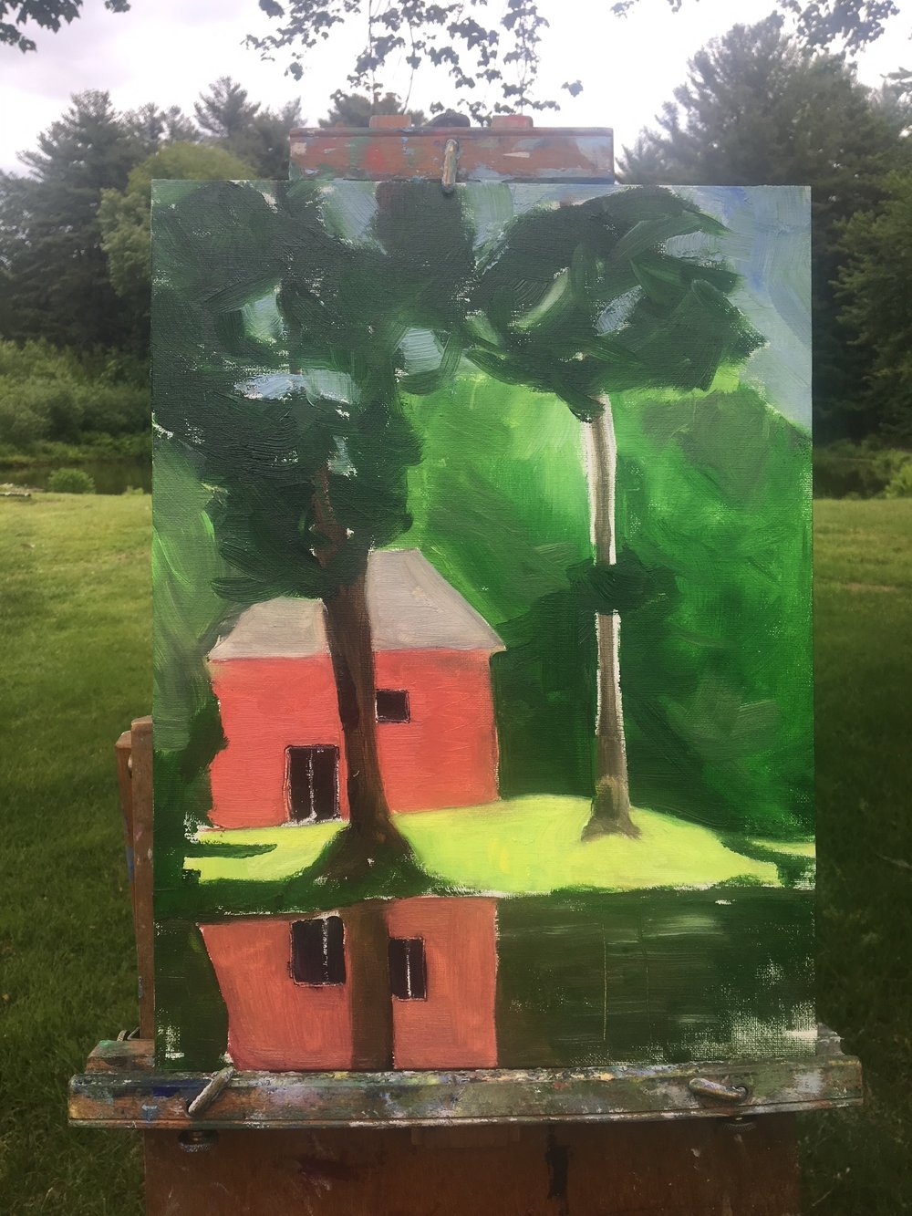 Painting from the last (5th) class...I can see a big difference in what I learned here. While water in the foreground is dark and reflection a little awkward, overall I am pleased with this one!I love how the shadow and light on the bright green grass came out. And the trees in front really do bring the perspective and depth into the painting. This was also my largest panel!