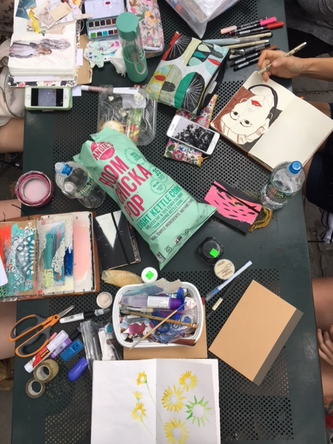 Our art table in Bryant Park