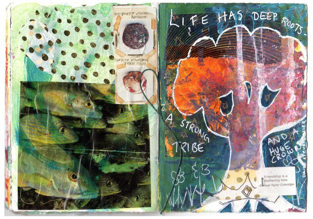 Front Cover with tree, was started by me and finished by Jenny. Back cover with fish was started by Jenny and finished by me!