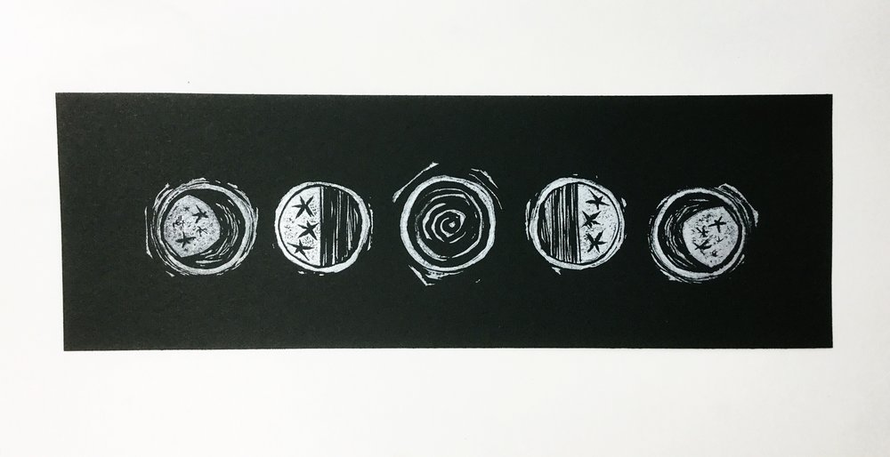 Sample with the new moon in the center, silver on black mixed media paper