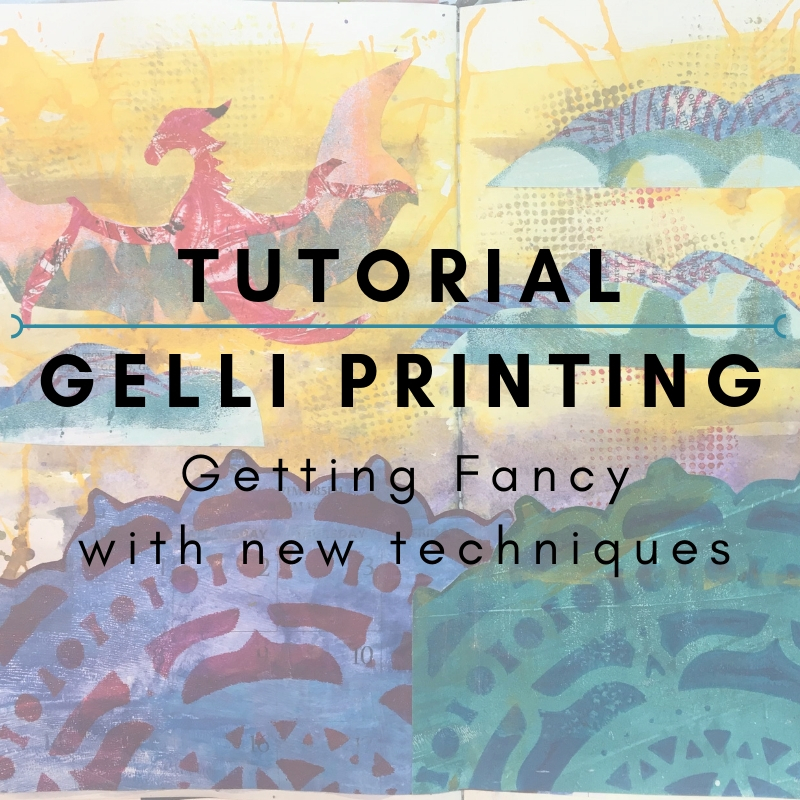 Tutorial: Gelli Printing - Getting Fancy  In this second tutorial, shared on the Get Messy public blog, I walk you through three new techniques for using your gelli plate to make collage papers. I even take you through the process of creating a magical collage page with templates and more!