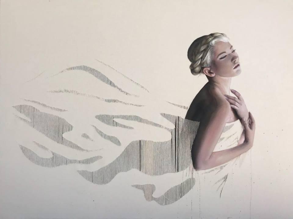 Delicacy  Deanna Mosca  Acrylic ink on drawn thread  2017