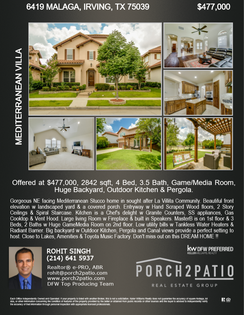 - 4 Bed, 3.5 Bath, 2842 Sq. Ft. - $477,000Gorgeous NE facing Mediterranean Stucco home in sought after La Villita Community. Beautiful front elevation w landscaped yard & a covered porch. Entryway w Hand Scraped Wood floors, 2 Story Ceilings & Spiral Staircase. Kitchen is a Chef's delight w Granite Counters, SS appliances, Gas Cooktop & Vent Hood. Large living Room w Fireplace & built in Speakers. MasterB is on 1st floor & 3 Beds, 2 Baths w Huge GameMedia Room on 2nd floor. Low utility bills w Tankless Water Heaters & Radiant Barrier. Big backyard w Outdoor Kitchen, Pergola and Canal views provide a perfect setting to host. Close to Lakes, Amenities & Toyota Music Factory. Don't miss out on this DREAM HOME !!