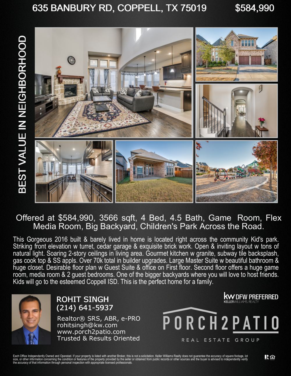 - 4 Bed, 4.5 Bath, 3566 Sq. Ft. - $584,990Gorgeous 2016 built Melrose floor plan by CalAtlantic homes. You will fall in love w this home. Open layout, tons of natural light & over 70k plus in builder upgrade value. Gorgeous front elevation, handscraped wood floors & high end light fixtures. Gourmet kitchen w granite, subway tile backsplash, gas cook top, SS appliances & spacious pantry. Large Master Suite w vaulted ceilings. Beautiful Master bath & huge closet. Second bedroom on 1st floor w en suite bath. Spacious office w french doors. Upstairs w a huge game room, media room & 2 guest bedrooms. One of the bigger backyards in the community along w covered patio. Children's park right across the road. This is the perfect home to raise a beautiful family !!