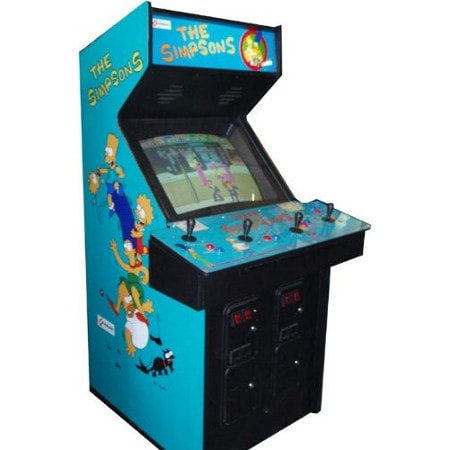 Simpsons   The Simpsons Arcade Video Game by Konami is a 4 Player arcade game. The game allows up to four players to control members of the Simpson family, as they fight various enemies in order to rescue the kidnapped Maggie.  Dimensions: 71.5H x 27.5W x 35.5D